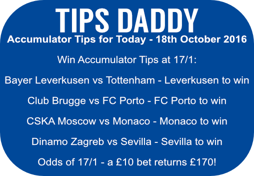Accumulator Tips 18th October 2016