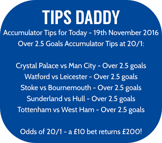 Accumulator Tips 19th November 2016