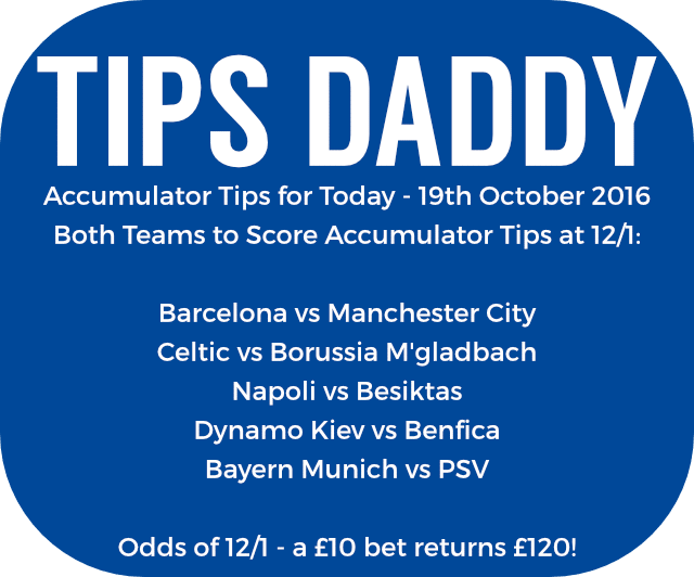 Accumulator Tips 19th October 2016