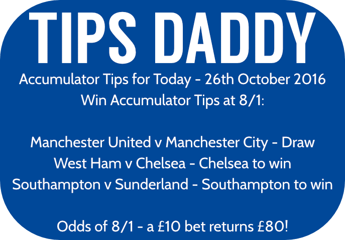 Accumulator Tips 26th October 2016