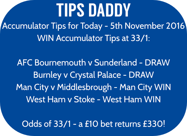 Accumulator Tips 5th November 2016