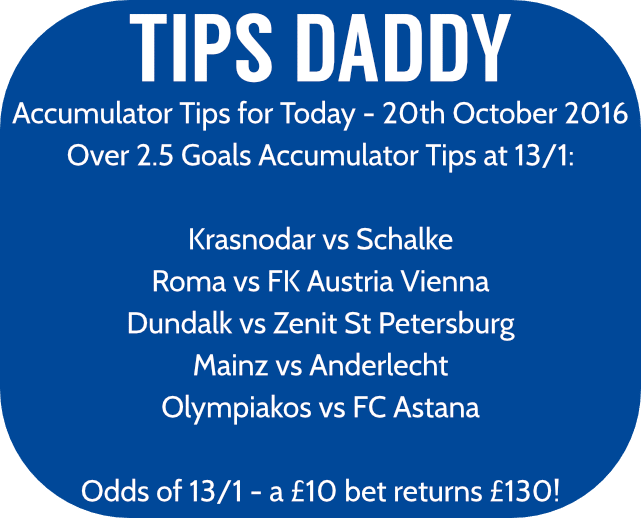 Accumulator Tips 20th October 2016